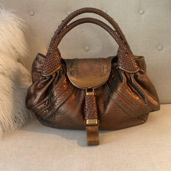 Fendi Handbags - Fendi Bronze Fortuny Napa Leather Hologram Spy Bag